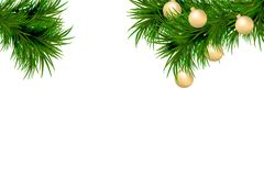 Merry Christmas and Happy New Year background with fir branches and christmas balls isolated on white background. Modern design. U. Niversal vector background royalty free illustration