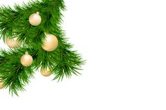 Merry Christmas and Happy New Year background with fir branches and christmas balls isolated on white background. Modern design. U. Niversal vector background stock illustration