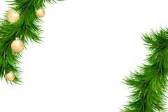 Merry Christmas and Happy New Year background with fir branches isolated on white background. Modern design. Universal background. Merry Christmas and Happy New Royalty Free Stock Photos