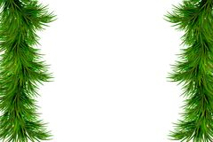 Merry Christmas and Happy New Year background with fir branches isolated on white background. Modern design. Universal background. Merry Christmas and Happy New Stock Photos