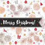 Happy New Year and Merry Christmas 2018_33. Merry Christmas and happy New Year background with fir cones, toys, bullfinches, gifts, deer, stars, snowflakes Royalty Free Stock Images