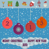 Merry Christmas and Happy New Year 2015 background with flat christmas icons. Vector illustration Stock Photography