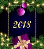 Merry Christmas and Happy 2018 New Year background with frame, stock illustration