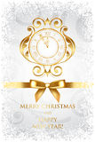 Merry Christmas & Happy New Year background with g. Vector Merry Christmas & Happy New Year background with gold clock Stock Photography