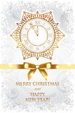 Merry Christmas & Happy New Year background with g. Vector Merry Christmas & Happy New Year background with gold clock stock illustration