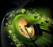 Merry Christmas and happy New Year background. Gold and green Stock Photography