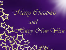 Merry Christmas and Happy New Year background with golden letters and stars. Merry Christmas and Happy New Year on the violet background with golden stars Royalty Free Illustration