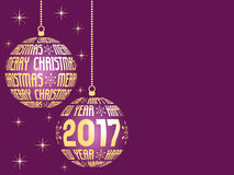 Merry christmas and happy new year 2017 background Stock Images