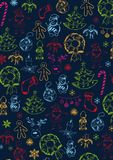 Merry Christmas and Happy New Year. Background with hand-draw christmas doodle elements. Vector illustration. Merry Christmas and Happy New Year. Background royalty free illustration