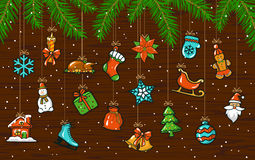 Merry Christmas and Happy New Year Background with hanging decoration xmas elements Stock Images