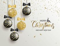 Merry Christmas and Happy New Year background for holiday greeting card, invitation, party flyer, poster, banner. Beautiful shiny. Tree balls and confetti vector illustration
