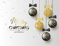 Merry Christmas and Happy New Year background for holiday greeting card, invitation, party flyer, poster, banner. Beautiful shiny. Tree balls and confetti royalty free illustration