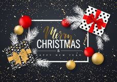 Merry Christmas and Happy New Year background for holiday greeting card, invitation, party flyer, poster, banner. Christmas tree b. Alls, fir branches, gift box vector illustration