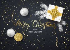 Merry Christmas and Happy New Year background for holiday greeting card, invitation, party flyer, poster, banner. Christmas tree balls, white fir branches stock illustration