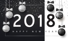 Merry Christmas and Happy New Year background for holiday greeting card, invitation, party flyer, poster, banner. Silver. And black shiny tree balls and Stock Image