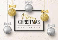 Merry Christmas and Happy New Year background for holiday greeting card, invitation, party flyer, poster, banner. Silver, gold, sh. Iny tree balls with bows stock illustration