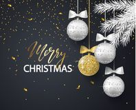 Merry Christmas and Happy New Year background for holiday greeting card, invitation, party flyer, poster, banner. Silver. Gold, shiny tree balls, white fir royalty free illustration