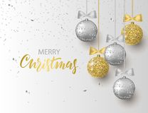 Merry Christmas and Happy New Year background for holiday greeting card, invitation, party flyer, poster, banner. Silver. Gold, shiny tree balls and confetti stock illustration