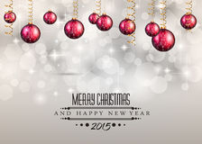 Merry Christmas and Happy New Year Background. With holiday themed design elements and background Stock Images