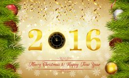 Merry Christmas and Happy New Year background. Illustration of Merry Christmas and Happy New Year background Royalty Free Stock Photos