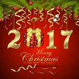 Merry Christmas and Happy New Year background. Illustration of Merry Christmas and Happy New Year background Stock Photo