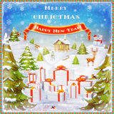 Merry Christmas and Happy new year background illustration Royalty Free Stock Photography