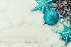 Merry Christmas and Happy New Year background. Merry Christmas and Happy New Year, winter season. Decoration on snow with copy space for text Stock Image