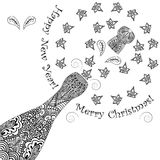 Merry Christmas and happy new year background. Opening patterned wine bottles. With cork. Monochrome floral zentangle sprays. With space for text. Vector royalty free illustration