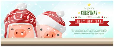 Merry Christmas and Happy New Year background with pigs standing behind window. Vector , illustration Stock Photos