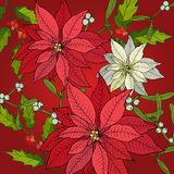 Merry Christmas and Happy New Year background. With poinsettia, vector illustration stock illustration