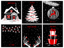 Merry Christmas and Happy New Year background posters, greeting cards templates with night evening scenes Stock Photography