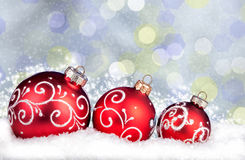 Merry Christmas and Happy New Year background with red balls Stock Photos