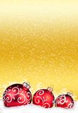 Merry Christmas and Happy New Year background with red balls Stock Photo