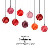 Merry Christmas and Happy New Year background with red christmas balls. Vector background for your greeting cards, invitations, festive posters stock illustration