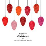 Merry Christmas and Happy New Year background with red christmas balls. Vector background for your greeting cards, invitations, festive posters vector illustration