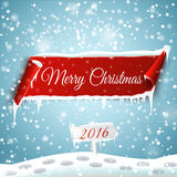 Merry Christmas and Happy New Year 2016. Christmas background with red curved paper banner, snow and icicles. Merry Christmas and Happy New Year 2016 Stock Photography