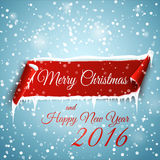 Merry Christmas and Happy New Year 2016. Christmas background with red curved paper banner, snow and icicles. Merry Christmas and Happy New Year 2016 Stock Images