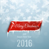Merry Christmas and Happy New Year 2016. Christmas background with red curved paper banner, snow and icicles. Merry Christmas and Happy New Year 2016 vector illustration