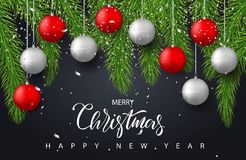 Merry Christmas and Happy New Year background with red and silver balls,tree branches and confetti. Holiday greeting. Card, invitation, party flyer, poster royalty free illustration