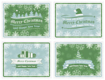 Merry Christmas and Happy New Year background in retro style - set Royalty Free Stock Image