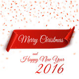 Merry Christmas and Happy New Year 2016. Christmas Background. Merry Christmas and Happy New Year 2016.  Ribbon. Realistic curved paper banner with confetti Stock Images