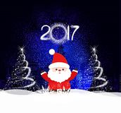 Merry Christmas and happy new year 2017 Background with santa claus.  Stock Photo