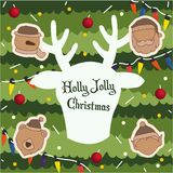 Merry Christmas and Happy New Year background, Santa Claus and R vector illustration
