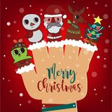 Merry Christmas and Happy New Year background, Santa Claus and R royalty free illustration