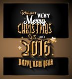2016 Merry Christmas and Happy New Year Background. For Seasonal Greetings Cards, Parties Flyer, Dineer Event Invitations, Xmas Cards and sp on Royalty Free Stock Photography