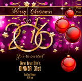 2016 Merry Christmas and Happy New Year Background. For Seasonal Greetings Cards, Parties Flyer, Dineer Event Invitations, Xmas Cards and sp on Stock Image