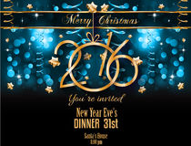 2016 Merry Christmas and Happy New Year Background. For Seasonal Greetings Cards, Parties Flyer, Dineer Event Invitations, Xmas Cards and sp on Royalty Free Stock Photo