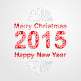Merry Christmas and happy new year 2015 background.Snowflake pattern font Stock Photo
