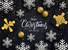 Merry Christmas and Happy New Year. Background with snowflakes, gift boxes, serpentine and balls . Vector illustration. Merry Christmas and Happy New Year royalty free illustration