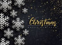 Merry Christmas and Happy New Year. Background with snowflakes and serpentine. Vector illustration. Merry Christmas and Happy New Year. Background with stock illustration
